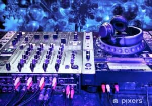 wall murals dj mixer with headphones.jpg